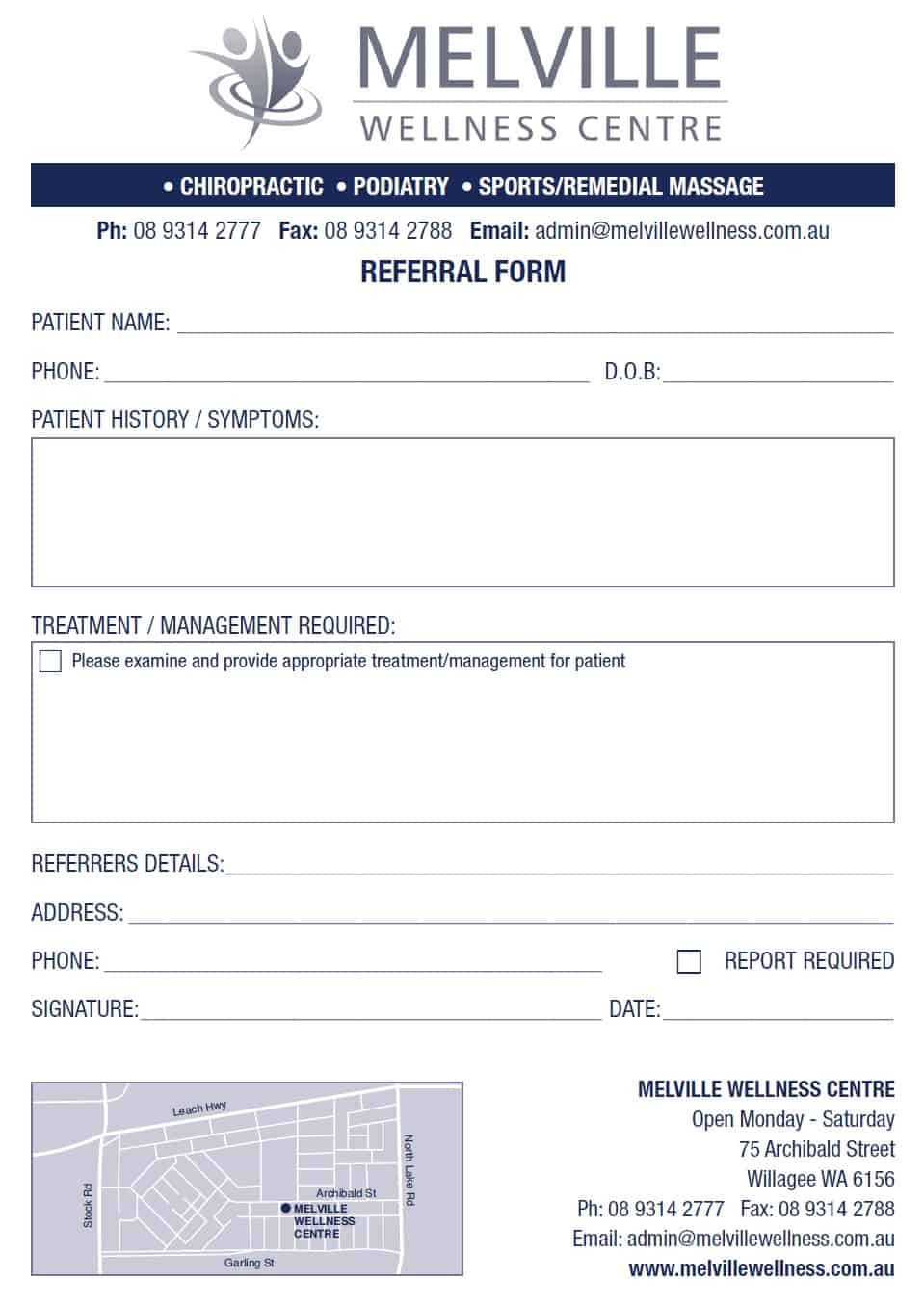 Melville Wellness Centre Referral Slip Form